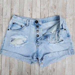 TOBI distressed high waist jean shorts